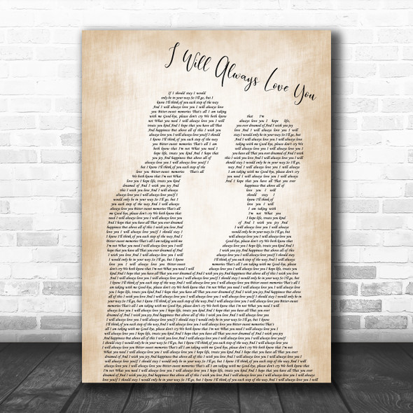 Dolly Parton I Will Always Love You Man Lady Bride Groom Wedding Wall Art Gift Song Lyric Print