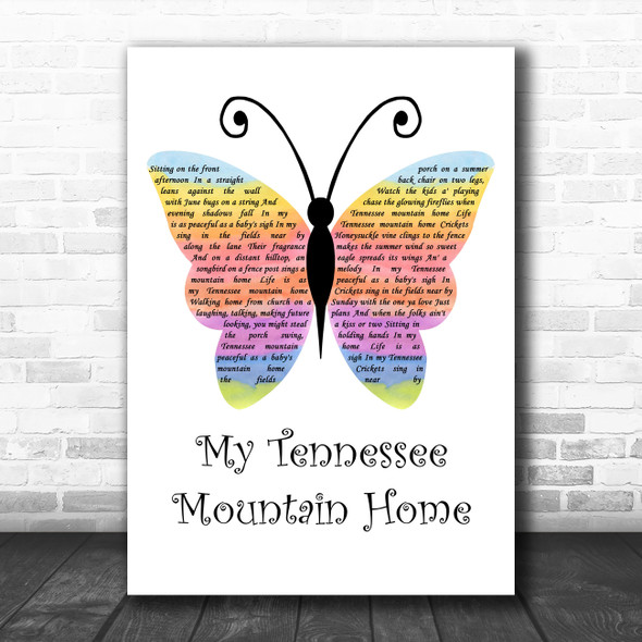 Dolly Parton My Tennessee Mountain Home Rainbow Butterfly Decorative Gift Song Lyric Print