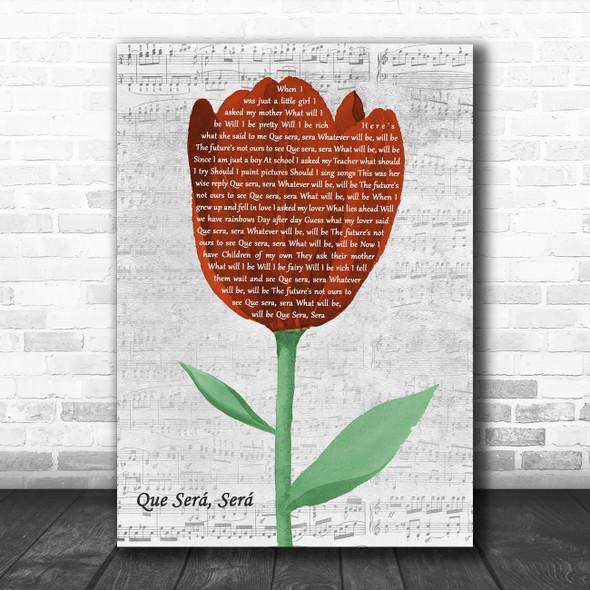 Doris Day Que Sera, Sera Grey Script Watercolour Tulip Decorative Gift Song Lyric Print
