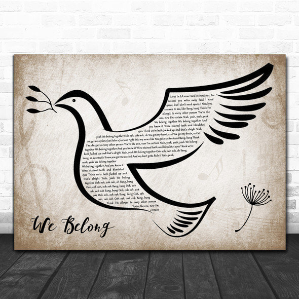 Dove Cameron We Belong Vintage Dove Bird Decorative Wall Art Gift Song Lyric Print