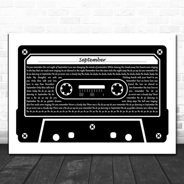 Earth, Wind And Fire September Black & White Music Cassette Tape Gift Song Lyric Print