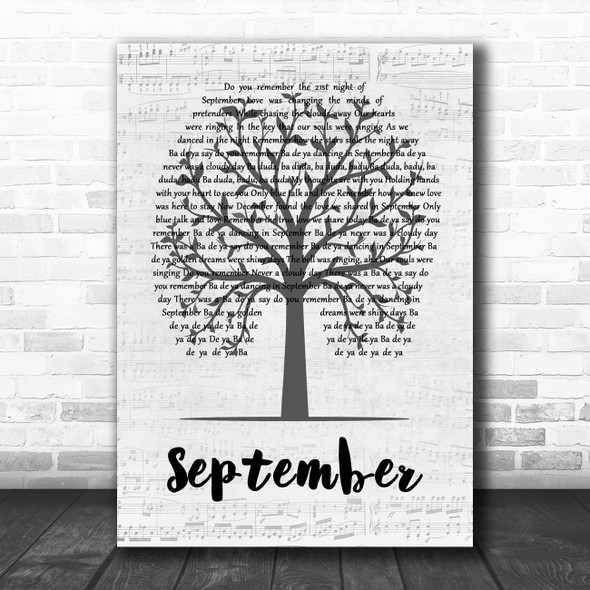 Earth, Wind And Fire September Music Script Tree Decorative Wall Art Gift Song Lyric Print