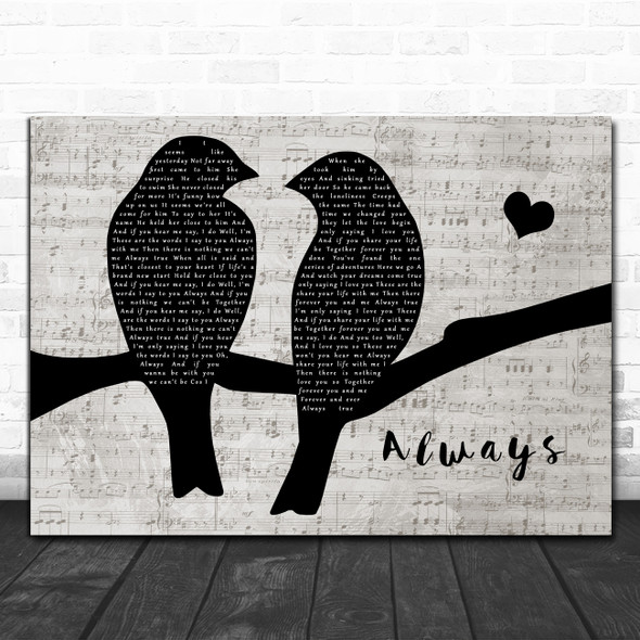 Ed Jordan Always Lovebirds Music Script Decorative Wall Art Gift Song Lyric Print