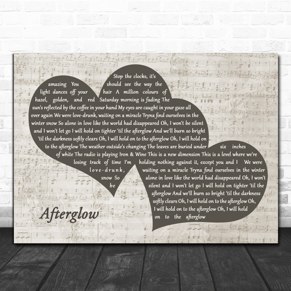 Ed Sheeran Afterglow Landscape Music Script Two Hearts Decorative Gift Song Lyric Print