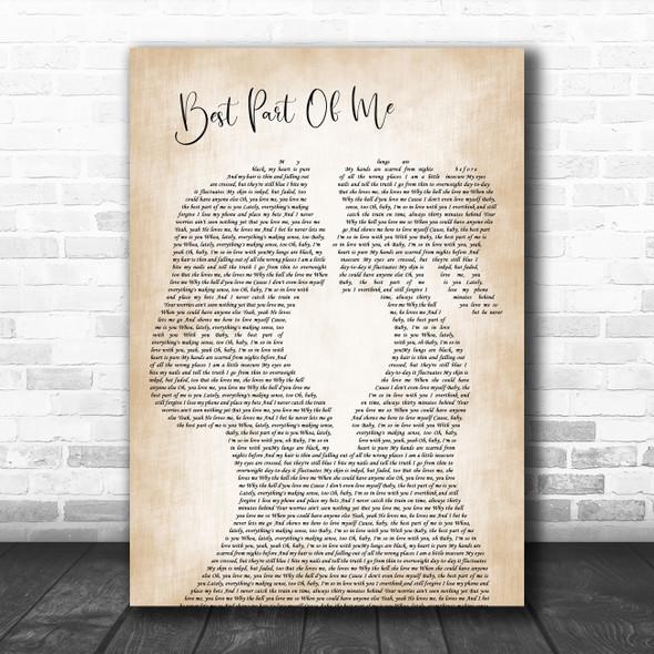 Ed Sheeran Best Part Of Me Lesbian Women Gay Brides Couple Wedding Gift Song Lyric Print