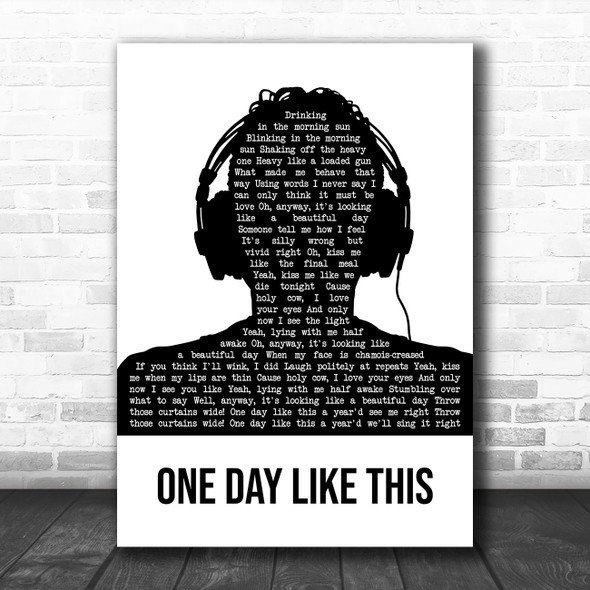Elbow One Day Like This Black & White Man Headphones Decorative Gift Song Lyric Print