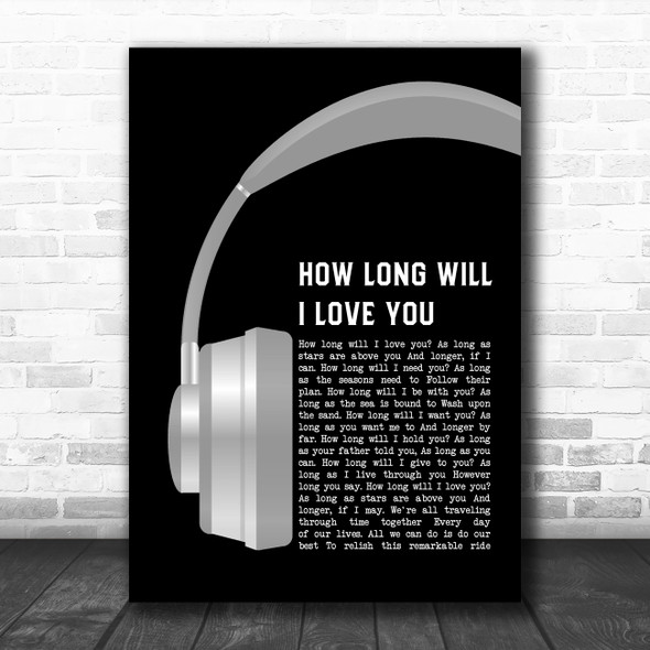 Ellie Goulding How Long Will I Love You Grey Headphones Decorative Gift Song Lyric Print