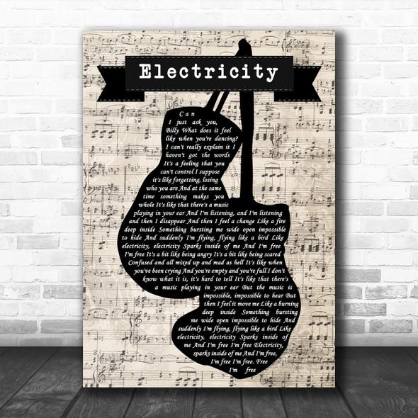 Elton John Electricity Music Script Boxing Gloves Decorative Wall Art Gift Song Lyric Print