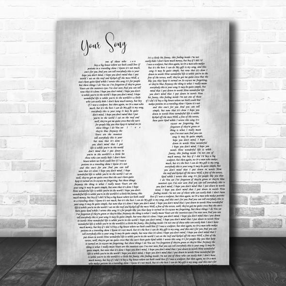 Elton John Your Song Two Men Gay Couple Wedding Grey Decorative Gift Song Lyric Print