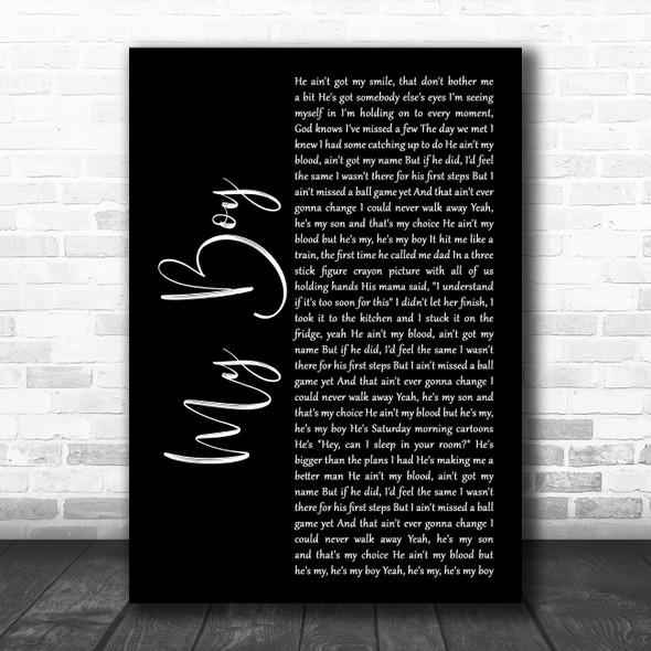 Elvie Shane My Boy Black Script Decorative Wall Art Gift Song Lyric Print