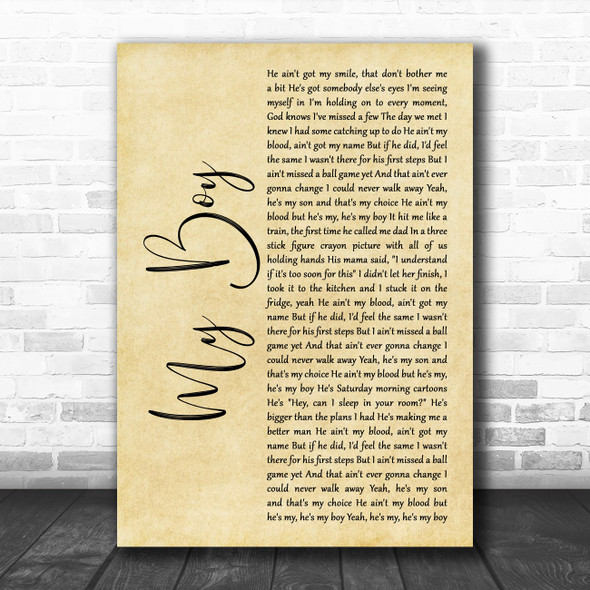 Elvie Shane My Boy Rustic Script Decorative Wall Art Gift Song Lyric Print