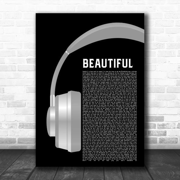 Eminem Beautiful Grey Headphones Decorative Wall Art Gift Song Lyric Print