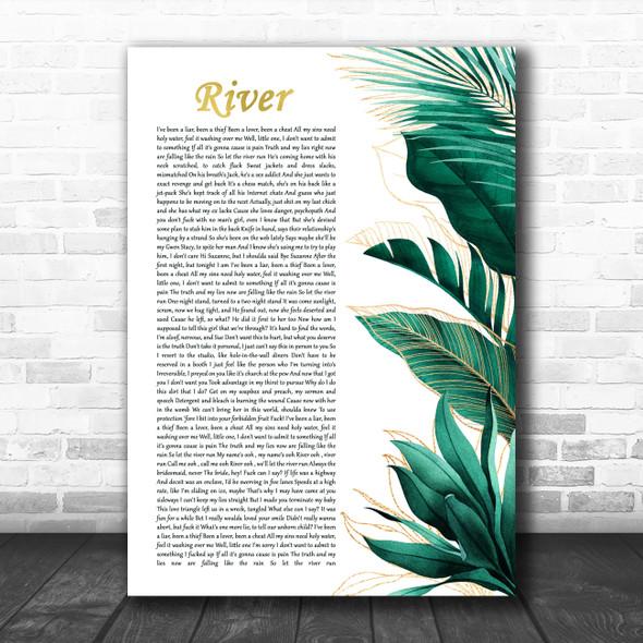 Eminem feat. Ed Sheeran River Gold Green Botanical Leaves Side Script Song Lyric Print