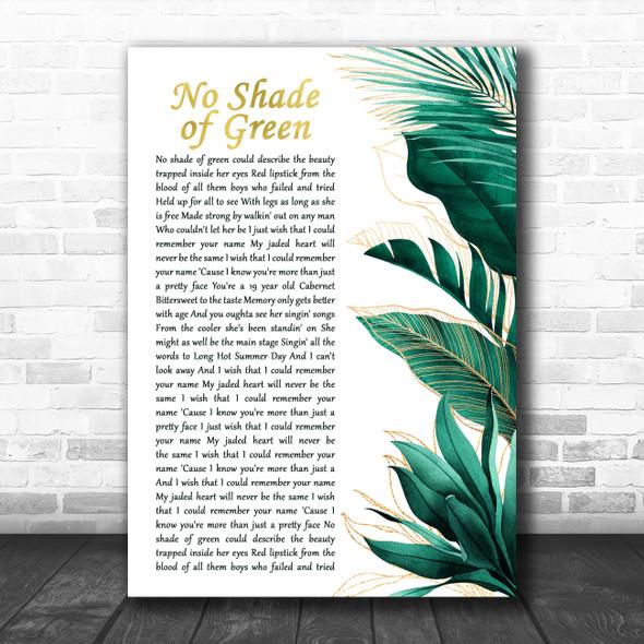 Flatland Cavalry No Shade of Green Gold Green Botanical Leaves Side Script Song Lyric Print