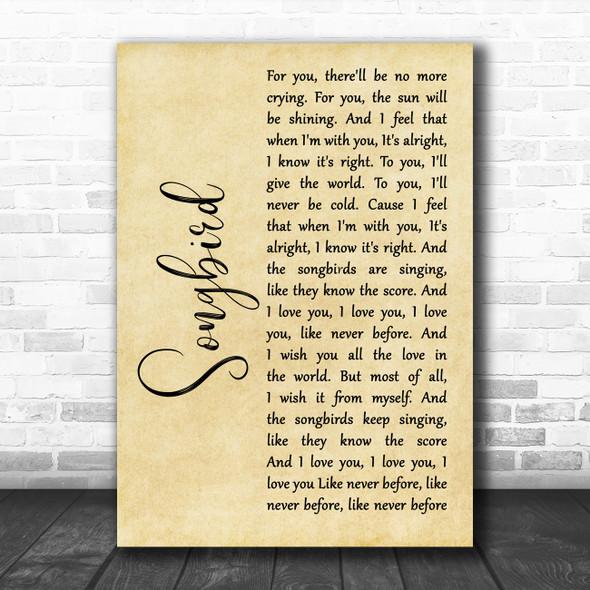 Fleetwood Mac Songbird Rustic Script Decorative Wall Art Gift Song Lyric Print