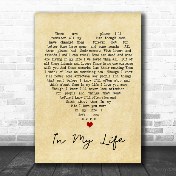 In My Life The Beatles Vintage Heart Song Lyric Music Wall Art Print