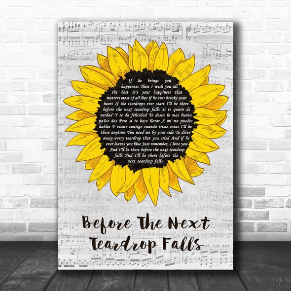Freddy Fender Before The Next Teardrop Falls Grey Script Sunflower Wall Art Gift Song Lyric Print