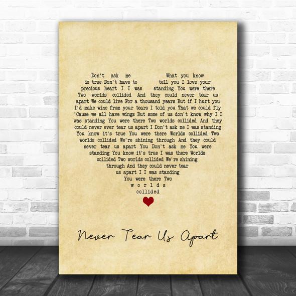 INXS Never Tear Us Apart Vintage Heart Song Lyric Music Wall Art Print