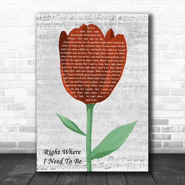 Gary Allan Right Where I Need To Be Grey Script Watercolour Tulip Wall Art Gift Song Lyric Print