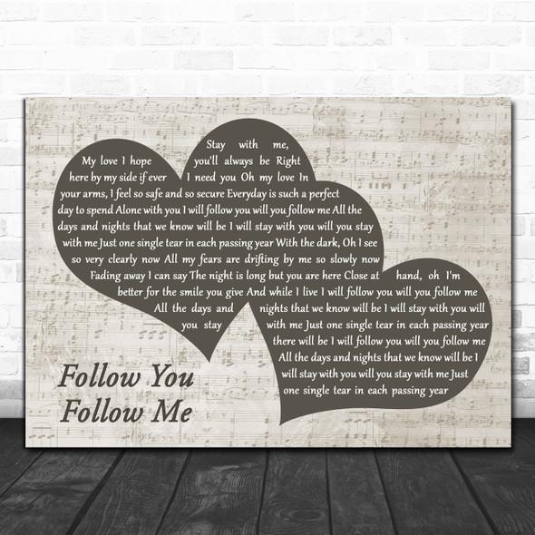 Genesis Follow You Follow Me Landscape Music Script Two Hearts Wall Art Song Lyric Print