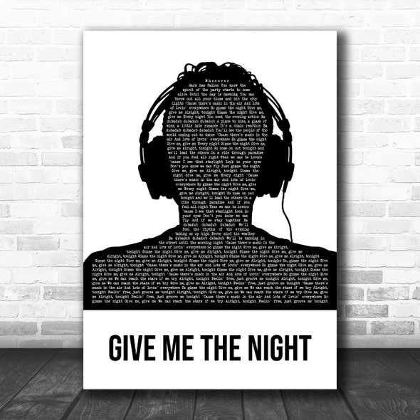 George Benson Give Me the Night Black & White Man Headphones Song Lyric Print