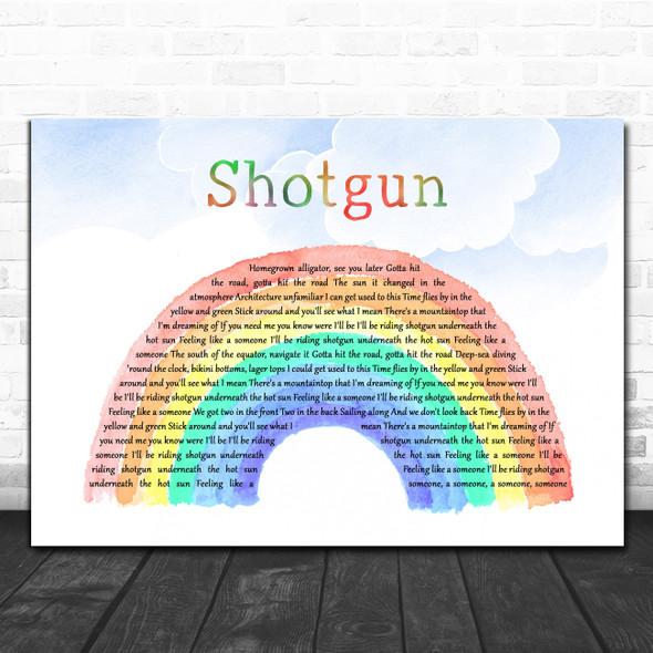 George Ezra Shotgun Watercolour Rainbow & Clouds Decorative Wall Art Gift Song Lyric Print