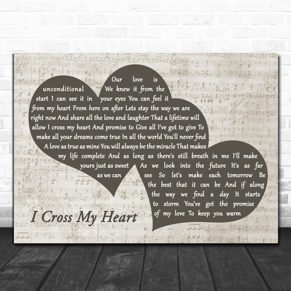 George Strait I Cross My Heart Landscape Music Script Two Hearts Wall Art Gift Song Lyric Print