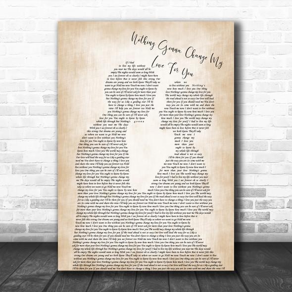 Glenn Mederios Nothing Gonna Change My Love For You Man Lady Bride Groom Wedding Song Lyric Print