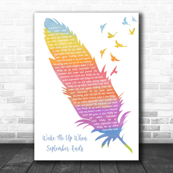 Green Day Wake Me Up When September Ends Watercolour Feather & Birds Gift Song Lyric Print