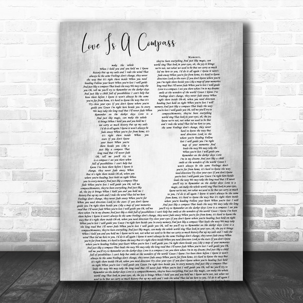 Griff Love Is A Compass Two Men Gay Couple Wedding Grey Decorative Gift Song Lyric Print