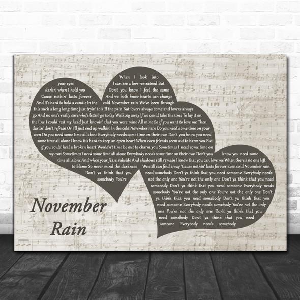 Guns N' Roses November Rain Landscape Music Script Two Hearts Song Lyric Print
