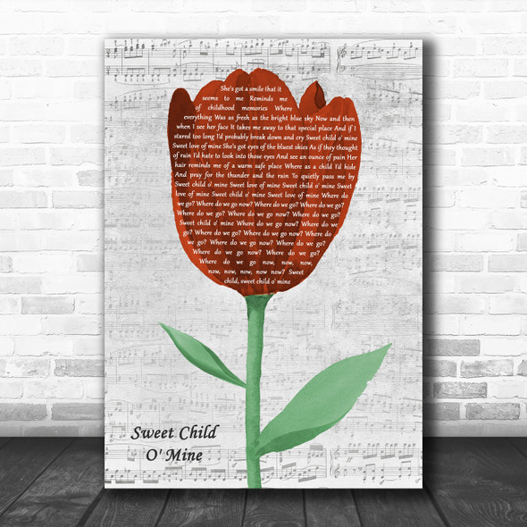 Guns N Roses Sweet Child O' Mine Grey Script Watercolour Tulip Song Lyric Print