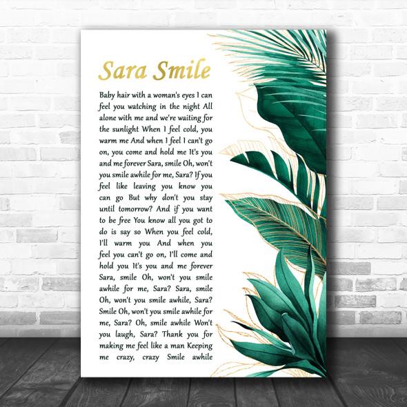 Hall & Oates Sara Smile Gold Green Botanical Leaves Side Script Wall Art Gift Song Lyric Print
