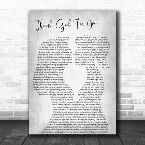 Heather Peace Thank God For You Lesbian Women Gay Brides Couple Wedding Grey Song Lyric Print