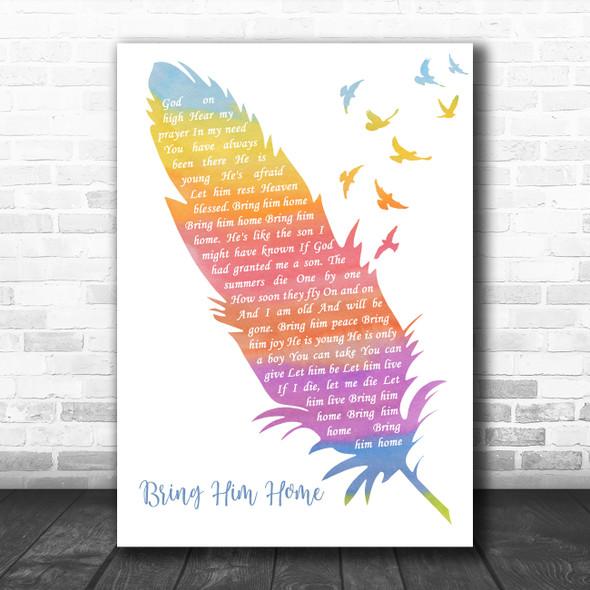 Hugh Jackman Bring Him Home Watercolour Feather & Birds Decorative Gift Song Lyric Print