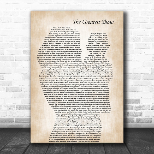 Hugh Jackman The Greatest Show Mother & Baby Decorative Wall Art Gift Song Lyric Print