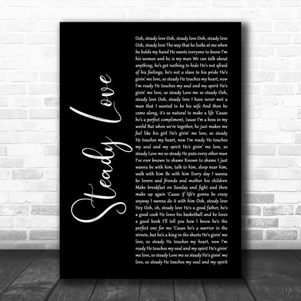 India.Arie Steady Love Black Script Decorative Wall Art Gift Song Lyric Print