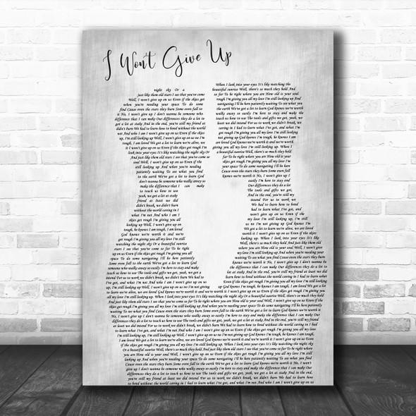 Jason Mraz I Won't Give Up Two Men Gay Couple Wedding Grey Decorative Gift Song Lyric Print