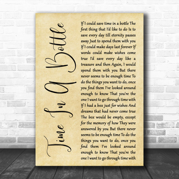 Jim Croce Time In A Bottle Rustic Script Decorative Wall Art Gift Song Lyric Print