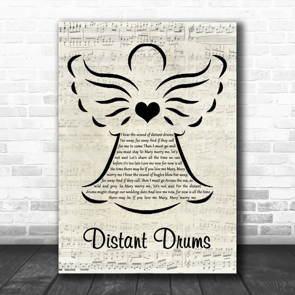 Jim Reeves Distant Drums Music Script Angel Decorative Wall Art Gift Song Lyric Print