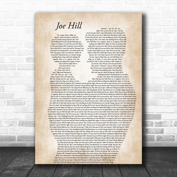Joan Baez Joe Hill Father & Child Decorative Wall Art Gift Song Lyric Print