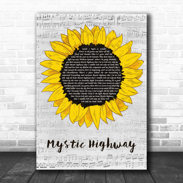 John Fogerty Mystic Highway Grey Script Sunflower Decorative Wall Art Gift Song Lyric Print