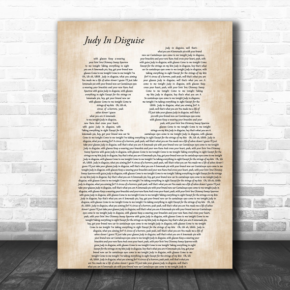 John Fred & His Play Boy Band Judy In Disguise Father & Child Wall Art Song Lyric Print