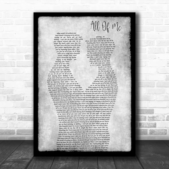 John Legend All Of Me Gay Couple Two Men Dancing Grey Decorative Gift Song Lyric Print