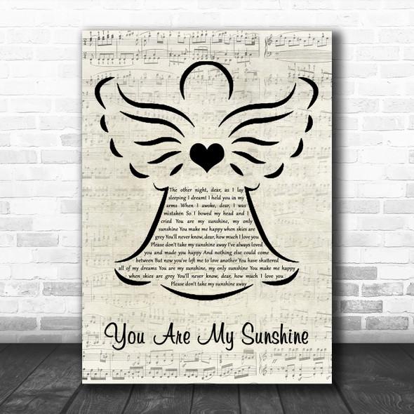 Johnny Cash You Are My Sunshine Music Script Angel Decorative Wall Art Gift Song Lyric Print