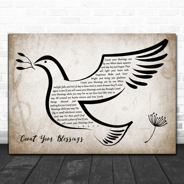 Josef Locke Count Your Blessings Vintage Dove Bird Decorative Wall Art Gift Song Lyric Print