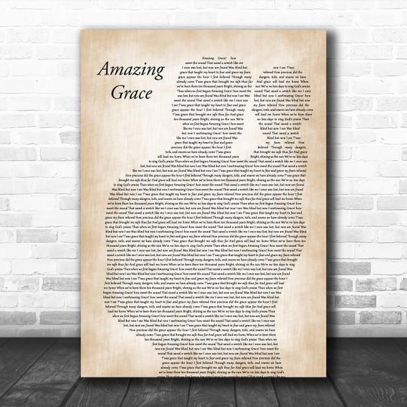 Judy Covington Amazing Grace Father & Baby Decorative Wall Art Gift Song Lyric Print