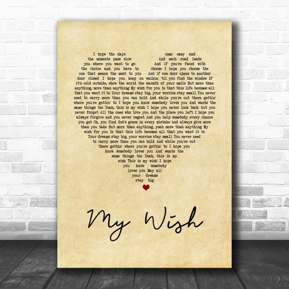 Rascal Flatts My Wish Vintage Heart Song Lyric Music Wall Art Print