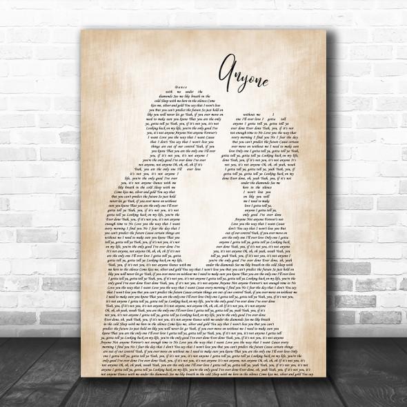Justin Bieber Anyone Man Lady Bride Groom Wedding Decorative Wall Art Gift Song Lyric Print