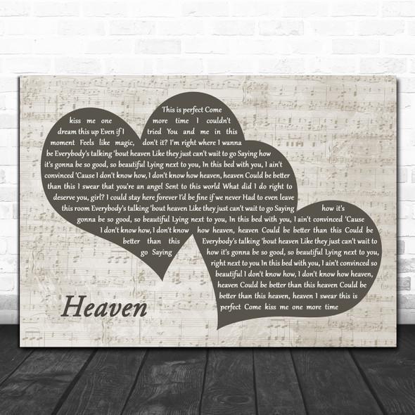 Kane Brown Heaven Landscape Music Script Two Hearts Decorative Gift Song Lyric Print